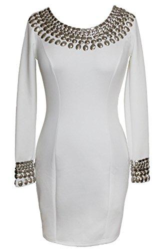 Damen Sexy Rundhalsausschnitt Langarm BodyCon verzierte Kleider Weiß