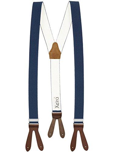 Hochwertige Hosenträger von Xeira® in Uni & Neon Farben mit Lederriemen - Verfügbar in XXXL 150cm Länge - Made in Germany (Normale Länge, Dunkel Blau / Braun)