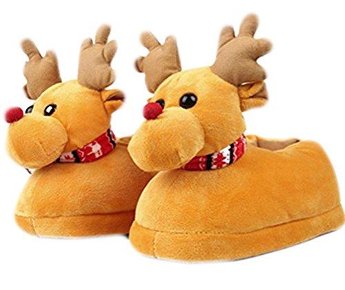 Weihnachten Elk Printed Warm Booties, warme gemütliche Plüsch Baumwolle Wohnung Slippers Beleg auf Indoor-Schuhe (Top-teen-halloween-kostüme)