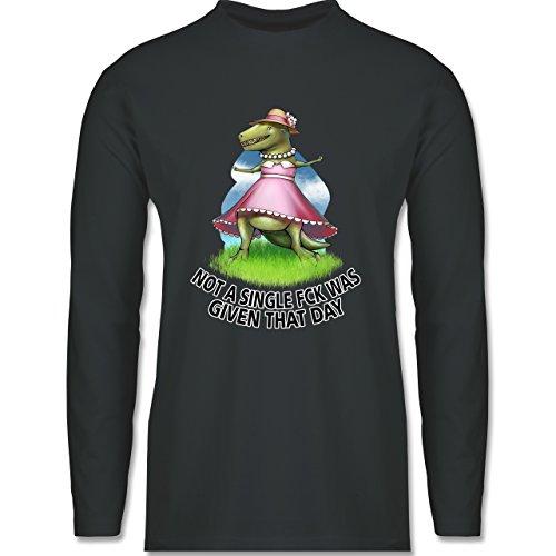 Shirtracer Statement Shirts - Not a Single Fck - T-Rex - Herren Langarmshirt Dunkelgrau
