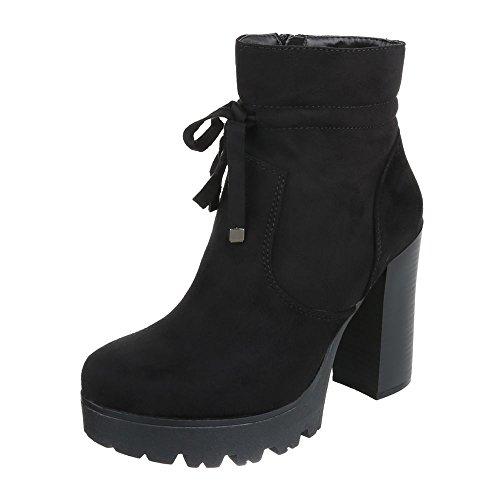 High Heel Stiefeletten Damenschuhe Schlupfstiefel Pump High Heels Reißverschluss Ital-Design Stiefeletten Schwarz