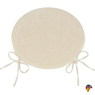 Arketicom ROUND CUSHION SET 4 PCS with NON-SLIP TIES Seat Removable Cover Pad Garden Patio Kitchen Dining Polyurethane Foam Customizable 55x55 beige