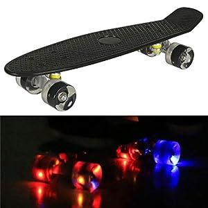 55cm/22 Mini Cruiser Board Retro Skateboard Komplettboard mit Leuchtrollen für Jugendliche Kinder und Erwachsene