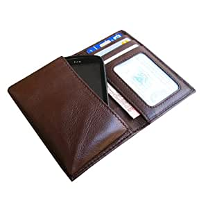 i-KitPit Genuine Leather Wallet Flip Pouch Case For Htc One V (Brown)