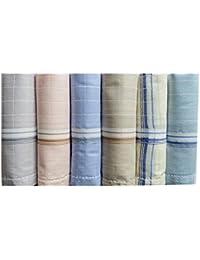 RC. ROYAL CLASS Men's Cotton Light Color Handkerchiefs (Pack of 6)