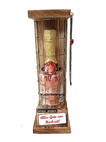 Alles Gute zur Hochzeit - Eiserne Reserve - Geldgeschenk - Sektflasche zum selbst Befüllen mit Geld, Süßigkeiten orginelle Geschenkverpackung! Geld kreativ verschenken!