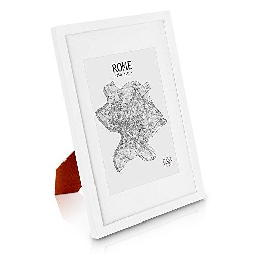 Weiß Holz (Echtholz Bilderrahmen A4 - Weiss - 21 x 29,7 - mit Passepartout für ein 15x20 Bild - DIN A4 Bilderrahmen mit Echtglas - Weißer Echtholzrahmen für Zertifikate und Urkunden - Rahmenbreite 2cm!)