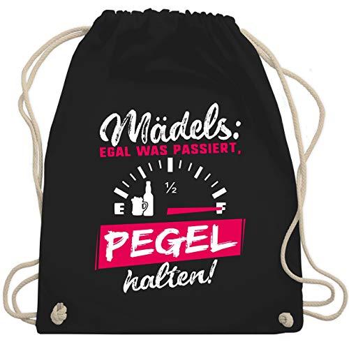 Typisch Frauen - Mädels: Egal was passiert, Pegel halten! - Unisize - Schwarz - WM110 - Turnbeutel & Gym Bag