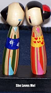 """Quaint Support pour pot Motif poupées Kokeshi au bisou!-Peint à la main - 3 1/2 """"- 1950 's"""