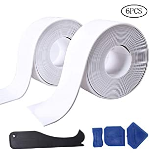 pengxiaomei 2 pack Caulk Strip and 4 Pcs Sealant Tools, Bathtub Sealant Tape PE Self Adhesive Sealant Caulk Strip Waterproof Sealing Tape for Bathroom, Kitchen and Toilet (38mm x3.2m x 2 Roll)