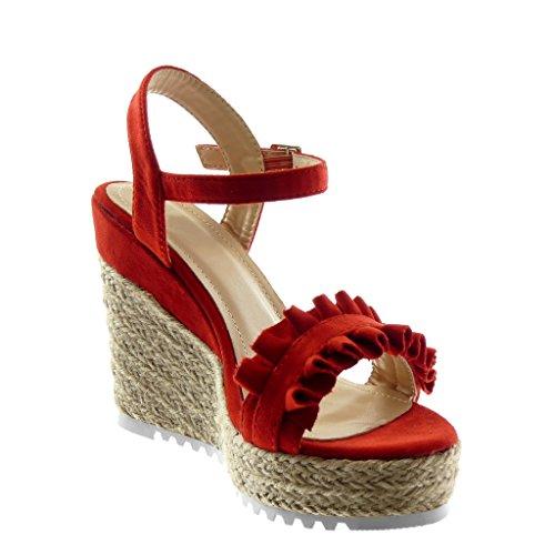 Angkorly Damen Schuhe Sandalen Espadrilles - Knöchelriemen - Sneaker Sohle - Plateauschuhe - Seil - Geflochten - mit Rüschen Keilabsatz High Heel 11.5 cm Rot