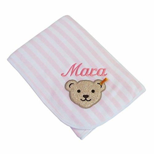 Steiff Babydecke mit Ihrem Wunsch Namen bestickt Steiff Collection 2890 rosa/weiß 90 cm x 60 cm Nicki