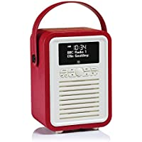 VQ Retro Mini DAB & DAB+ Digital Radio with FM, Bluetooth & Alarm Clock – Red
