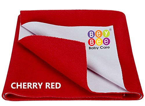 Bey Bee - Quick Dry Baby Bed Protector Waterproof Sheet / Reusable / Underpads / Crib Sheet / Cot mat / Bassinet Bedding (Red) {Small} {70cm X 50cm}