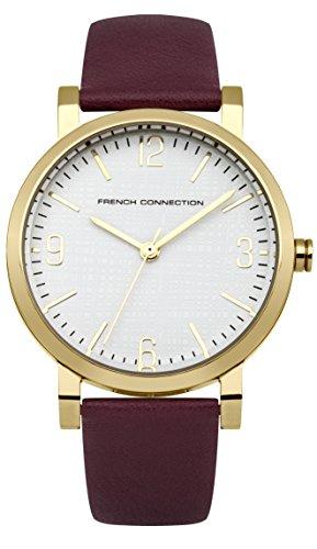 French Connection Reloj de cuarzo para mujer con correa de piel color blanco esfera analógica pantalla y morado fc1249Pa