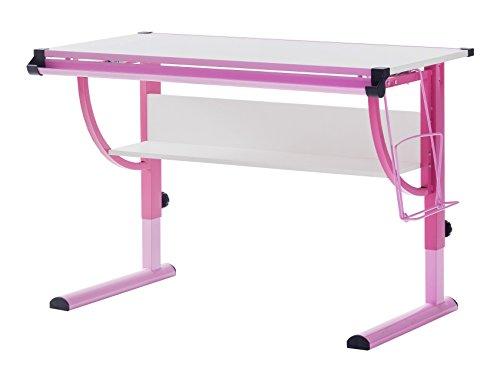 Robas Lund 40052GP2 Schreibtisch, für Kinder, Höhenverstellbar, 60 x 118 x 93 cm, Rosa