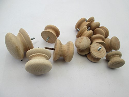 Ironmongery World® 10x Natur Uni Holz unlackiert Holz rund Buche Schrank Schrank Brust Schublade Küche Tür Knopf Griffe (35mm Buche Knauf) (Buche Schubladen Brust)