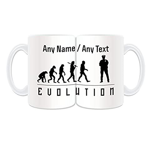 Personalised Gift - LARGE Police Mug (Evolution Full Wrapped Design Theme, White) - Any Name / Message on Your Unique - Occupation Worker Staff Employee Silhouette Outline Contour Community Support Officer PCSO Policeman Hat Cap Uniform British Constable UK PC Sergeant Inspector Traffic PC SGT INSP CID Helmet History