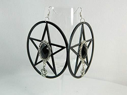 Pentagramm Ohrringe schwarz Gothic Halloween Hexe Karneval