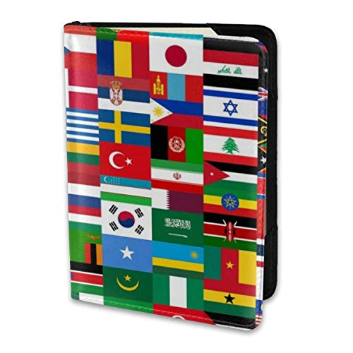 Passport Holder Cover,Flags Quiz Games Wallet Credit Card Set Blocking Leather Card Case Travel Accessories 6.5