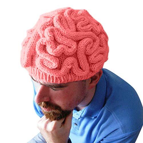 XINAINI Verband Gehirn Hut,Halloween StrickmüTze Gehirn Tissue Parodie Handgestrickte Gehirn Hut Kinder ErwachsenehäKeln Cerebrum Cap Unisex