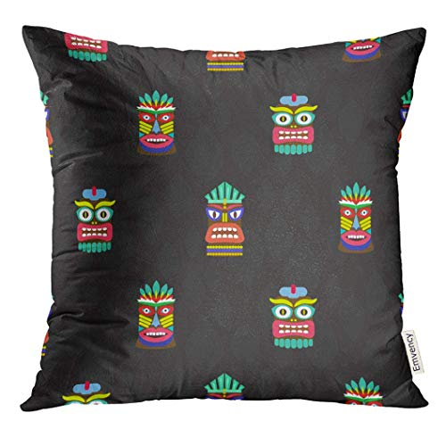 w Cover Pole Colorful Tiki Masks Totems Dark Pattern Hawaiian Culture Bright African Ancient Decorative Pillow Case Home Decor Square 18x18 Inches Pillowcase ()