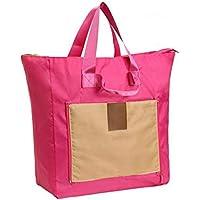 ZM Plegable Bolsa de Compras Impermeable Viaje Almacenamiento Bolsa Mano Equipaje Correa de Hombro Bolsa de Trolley,Pink