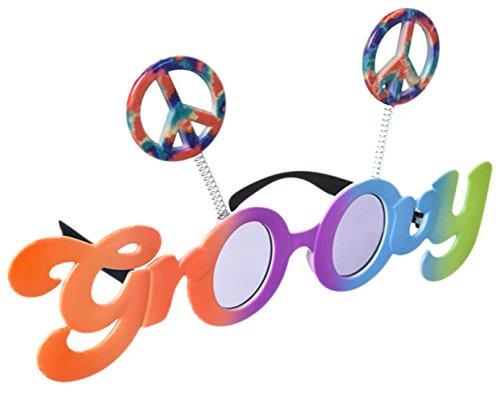 Halloweenia - Kostüm 60er Jahre Peace Groovy Sonnenbrille Schlager-Move Festival Hippie, (Jahre Groovy 70er Girl Kostüm)