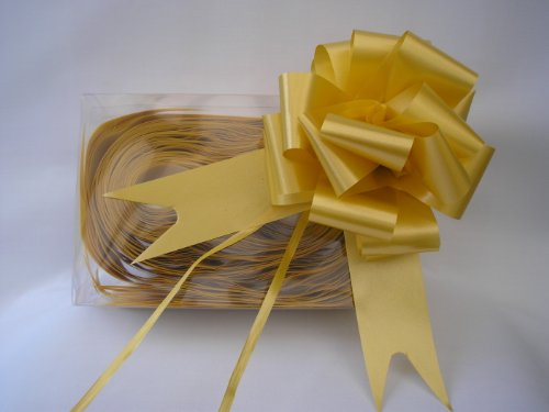Gold Satin Gift Bows - 50mm - Pack of 5