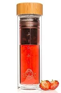 WAIPAI® Stilvolle Trinkflasche Glas 450ml Teebereiter Tee-Flasche To Go Doppelwandig 100% Dicht BPA-Frei Unterwegs Detox Infused Water Bottle