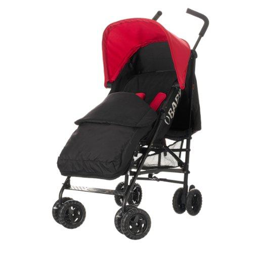 Obaby Atlas Black/Grey Stroller and Black Footmuff (Red)