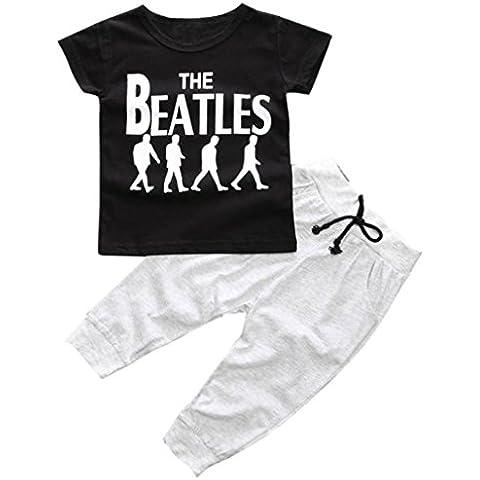 Amlaiworld Cabritos del niño camiseta tops + long de los pantalones Set