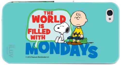 Iluv icp755mwblu Peanuts Graphic Schutzhülle für iPhone 4/4S (Charlie braun Mondays)-1Pack-Retail Verpackung-Blau Weiß