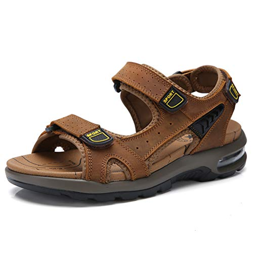 XSY2 Herren Sommer Sandalen Leder Strand Schuhe Velcro Walking Sandalen Outdoor Rutschfeste Wandern Trekking Schuhe,A,38 -