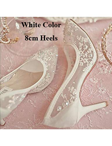ZZGS High Heel Brautschuhe Spitze Strass Frühling Brautschuhe Hohl Transparent Spitz Prom Formal Dress Pump White 8cm Heels - White Formal Dress