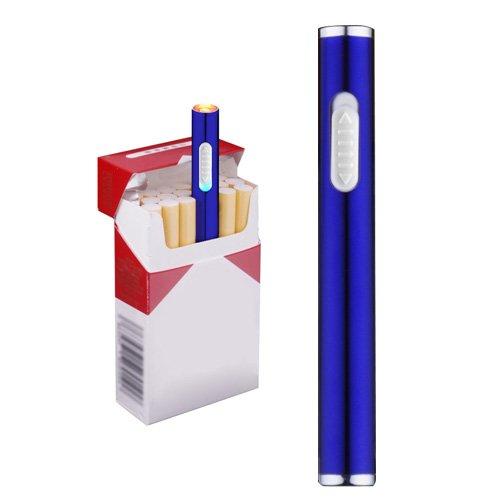 Mini USB Feuerzeuge Wiederaufladbar Winddicht Flammenlose Elektronische Plamsa schlank Feuerzeug Tragbar, Blau