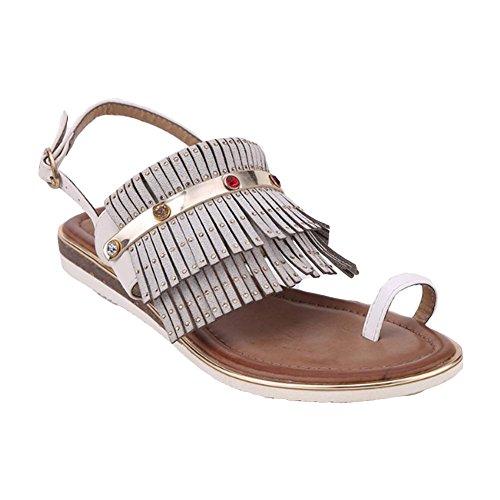 Pattini estivi rivetti in metallo nappa set da spiaggia di scarpe piatta Gray
