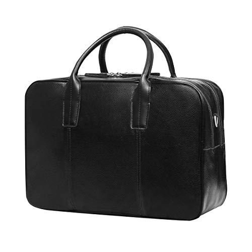 Leathario Herren Leder Aktentasche businesstasche Umhängetasche Laptop für 14 Zoll schwarz