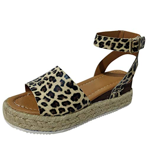 friendGG Frauen Sommer Mode Sandalen Schnalle Keil Leopard Retro Peep Toe Damen Casual Wedge Tuch High Heel Plateau Schuhe Braun Mittellange Ankle Riemen Plattform Hohe Ferse