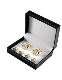 Manschettenknöpfe und 4 Frackknöpfe im Set, mit Gold veredelt, Einlagen aus Perlmutt, inkl. Geschenketui