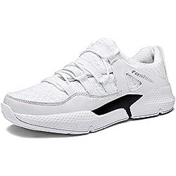 Zapatillas de Deportivos de Running para Hombre Gimnasia Sneakers Aire Libre y Deporte Ligero Transpirables Casual Zapatos Negro Blanco Rojo 39-47 WH41