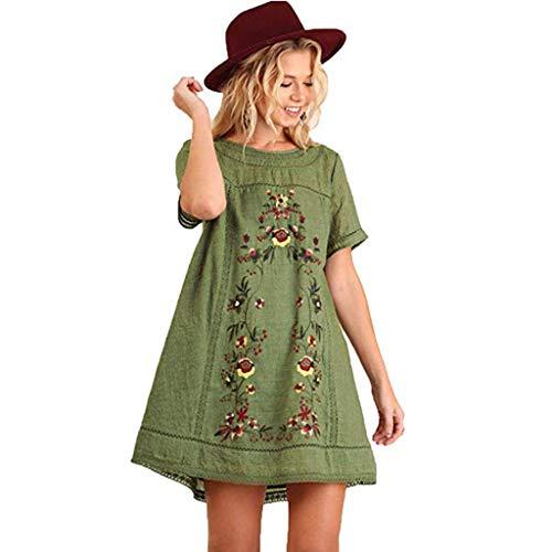 FRAUIT Damen Kurzarm Tunika Kleid Sommerkleid Bohemian T-Shirt Kleid Stickerei Floral Tunika Shirt Bluse Flowy Minikleid Baumwolle und Leinen Atmungsaktiv Weich Bequem (Shirt Stickerei)