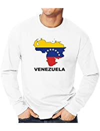 Teeburon Venezuela Country Map Color Camiseta manga larga