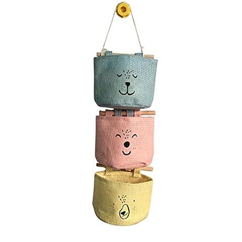Inwagui Lin/tissu de coton Mur Porte de placard à suspendre Sac de rangement organiseur 3 poches Sac organiseur maquillage-Type C