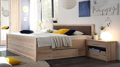 Möbel Akut Bettanlage Schlafzimmer Classic Bett Buche 180 x 200 cm mit Schubkästen und 2 Nachtkommoden