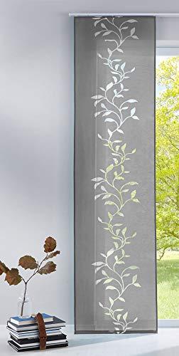 Gardinenbox Moderner Flächenvorhang Raumtrenner Schiebegardine Tendril aus hochwertigem Ausbrenner-Stoff mit Paneelwagen, 245x60 (HxB), Grau, 85611