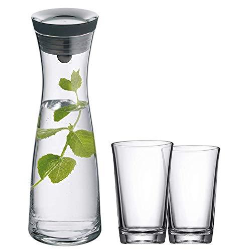 WMF Basic Wasserkaraffe Set, 3-teilig, Karaffe mit 2 Wassergläser 250ml, Glas-Karaffe 1,0l, Höhe 29 cm, Silikondeckel, CloseUp-Verschluss