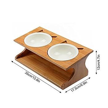 Petacc Gamelle en Céramique pour Chat Double Gamelle Amovible avec Support en Bambou Solide Bonne Contenance Pratique et Saine pour Pet Feeder