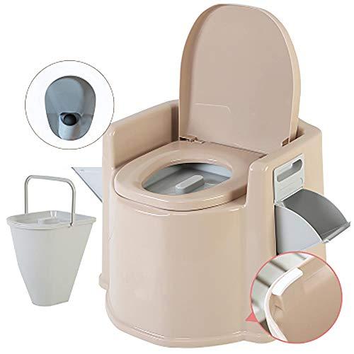 XIHAA Mobile Toilette Anti-Rutsch-Schwangere Frauen Toilette ältere tragbare geduldige Erwachsene Kommode, ältere Schwangere Frauen bewegliche Erwachsene Haushalts-tragbare Kommode,KhakiB