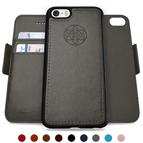 Dreem Fibonacci Brieftasche & Schutz-Hülle für iPhone 5/5s, magnetisch herausnehmbares TPU Case, dünn bruchfest, 2 Standfunktionen, hochwertige synthetische Leder-Tasche, RFID Schutz - Grau